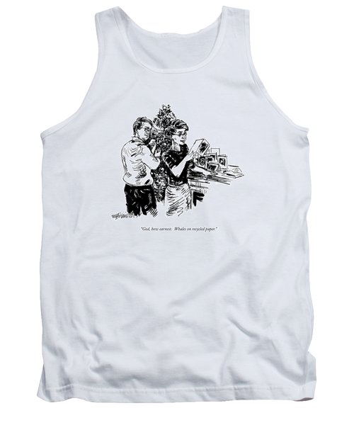 God, How Earnest.  Whales On Recycled Paper Tank Top