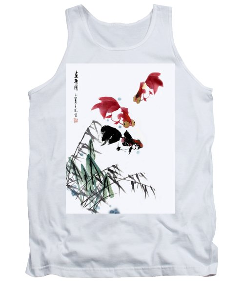 Tank Top featuring the painting Gold Fish by Yufeng Wang