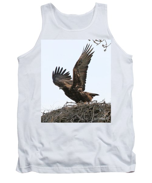 Tank Top featuring the photograph Golden Eagle Takes Off by Bill Gabbert