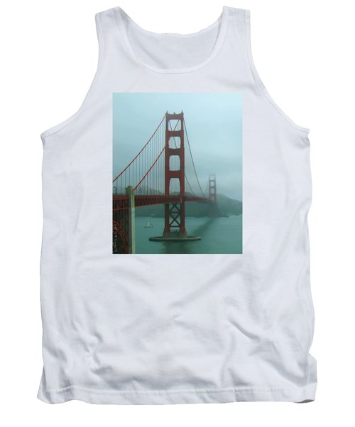 Golden Gate Bridge And Partial Arch In Color  Tank Top by Connie Fox