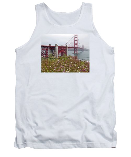 Golden Gate Bridge And Summer Flowers Tank Top by Connie Fox
