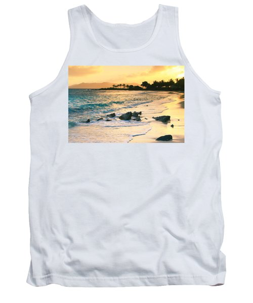 Golden Sunrise On Sapphire Beach Tank Top by Roupen  Baker