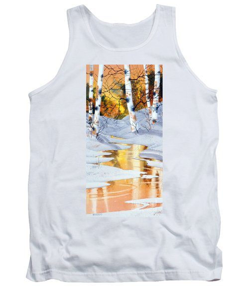 Tank Top featuring the painting Golden Winter by Teresa Ascone