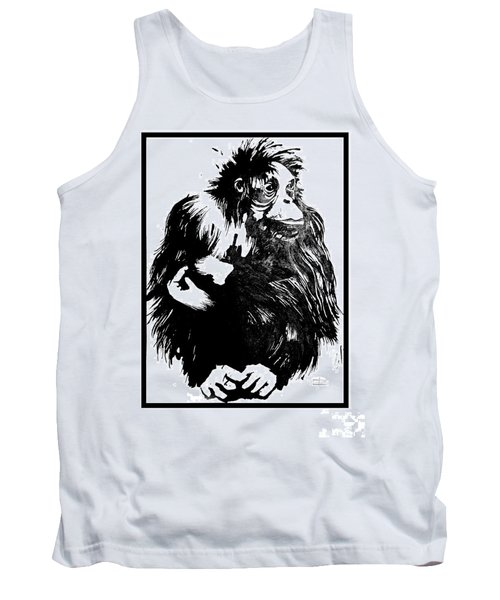 Tank Top featuring the drawing Gorilla Ina Box by Paul Davenport