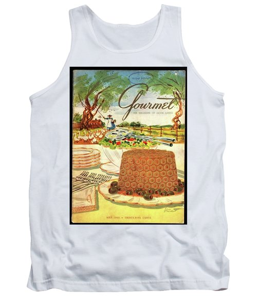 Gourmet Cover Featuring A Buffet Farm Scene Tank Top