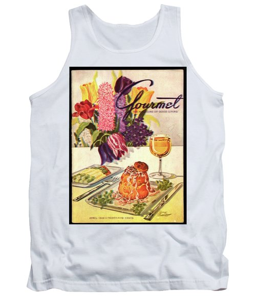 Gourmet Cover Featuring Sweetbread And Asparagus Tank Top by Henry Stahlhut