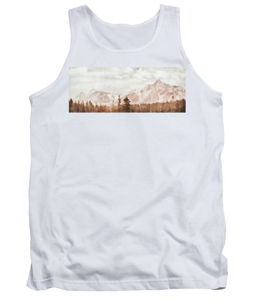 Tank Top featuring the painting Grand Teton Mountains by Greg Collins