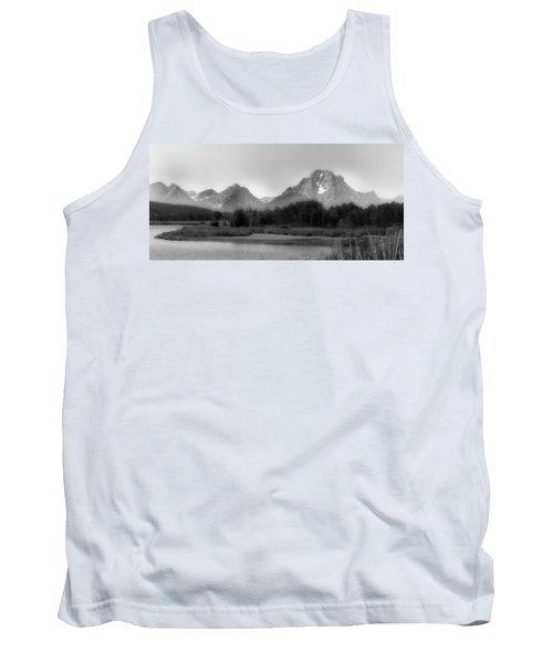 Tank Top featuring the photograph Grand Tetons Bw by Ron White