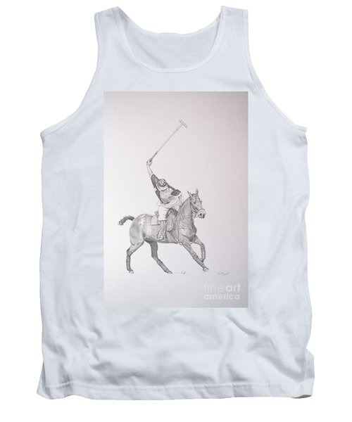 Graphite Drawing - Shooting For The Polo Goal Tank Top