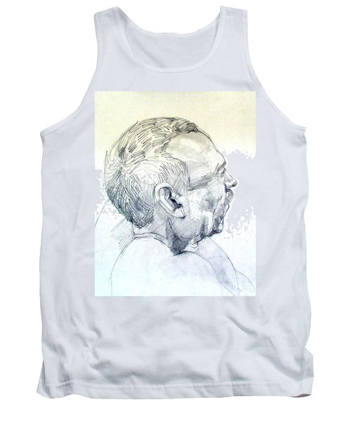 Tank Top featuring the drawing Graphite Portrait Sketch Of A Man In Profile by Greta Corens