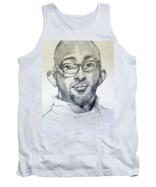 Tank Top featuring the drawing Graphite Portrait Sketch Of A Young Man With Glasses by Greta Corens