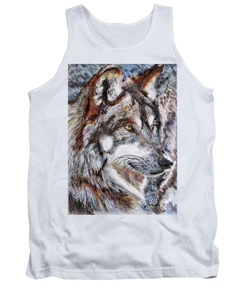 Gray Wolf Watches And Waits Tank Top