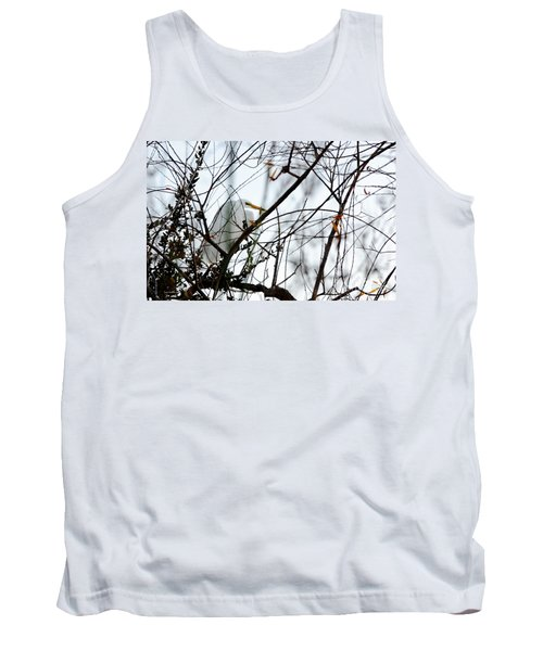 Tank Top featuring the photograph Great Egret Roosting In Winter by Susan Wiedmann