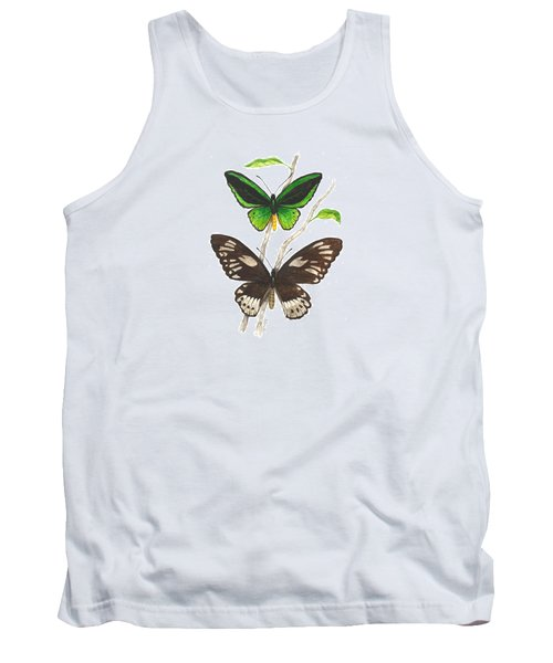 Green Birdwing Butterfly Tank Top by Cindy Hitchcock