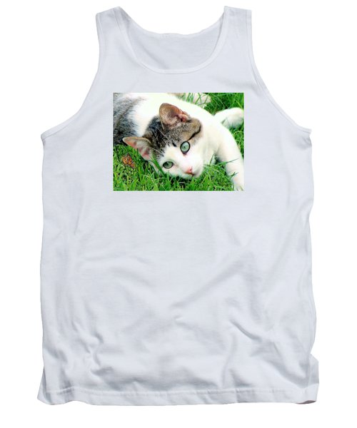 Tank Top featuring the photograph Green Eyed Cat by Janette Boyd