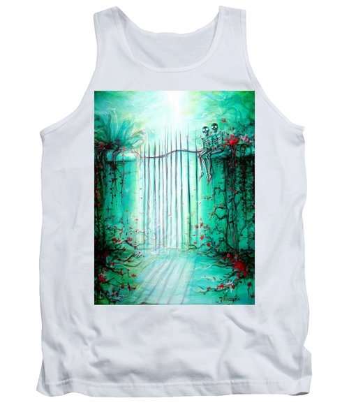 Tank Top featuring the painting Green Skeleton Gate by Heather Calderon