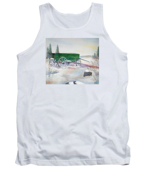 Green Wagon Tank Top by Christine Lathrop