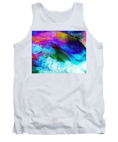 Tank Top featuring the painting Green Wave - Vibrant Artwork by Lilia D