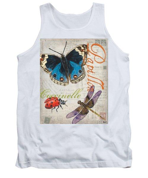 Grey Postcard Butterflies 4 Tank Top