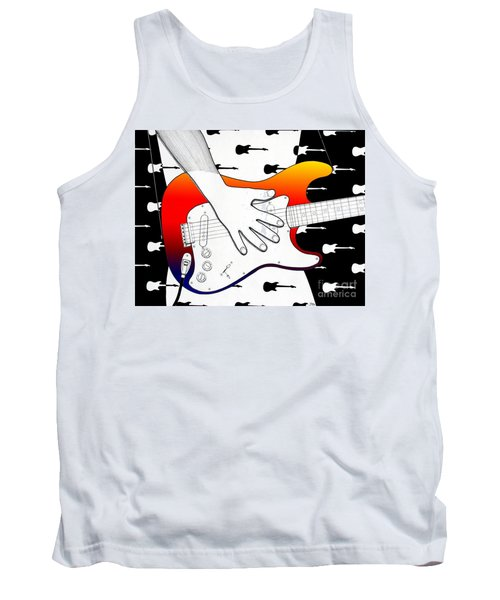 Tank Top featuring the drawing Guitar 1 by Joseph J Stevens