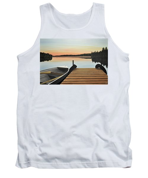 Tank Top featuring the painting Haliburton Dock by Kenneth M  Kirsch