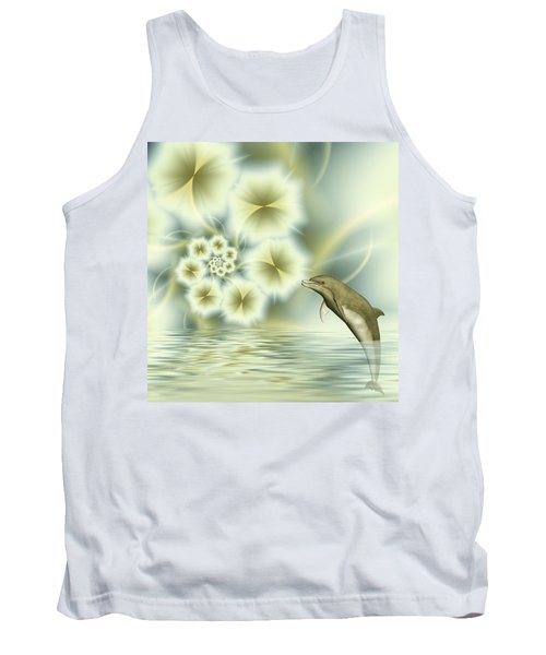 Happy Dolphin In A Surreal World Tank Top by Gabiw Art
