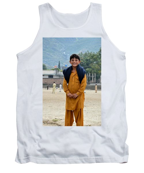 Tank Top featuring the photograph Happy Laughing Pathan Boy In Swat Valley Pakistan by Imran Ahmed