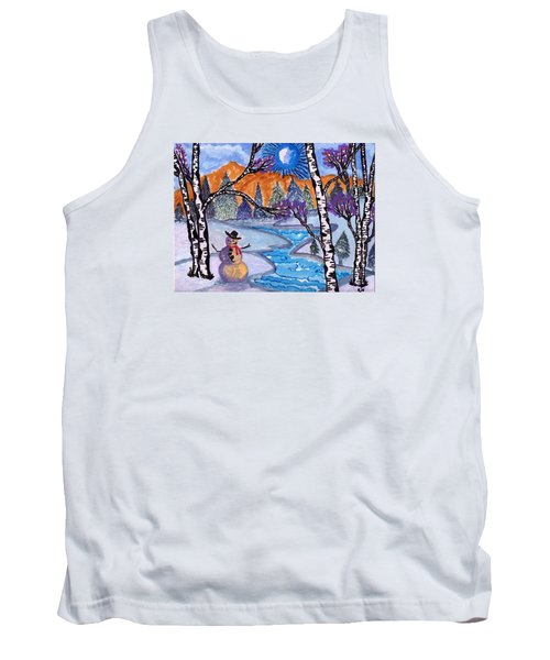 Tank Top featuring the painting Happy Snowman by Connie Valasco