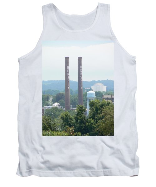 Tank Top featuring the photograph Hershey Smoke Stacks by Michael Porchik