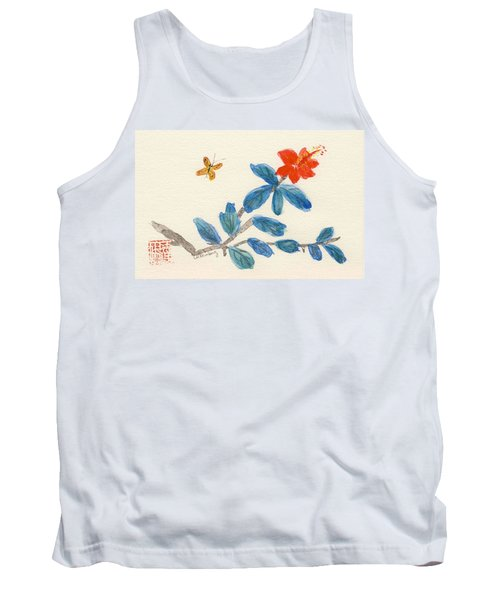Hibiscus With Butterfly Tank Top