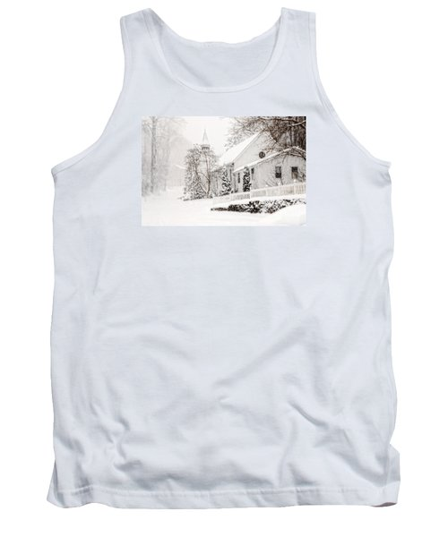 Tank Top featuring the photograph Historic Church In Oella Maryland During A Blizzard by Vizual Studio