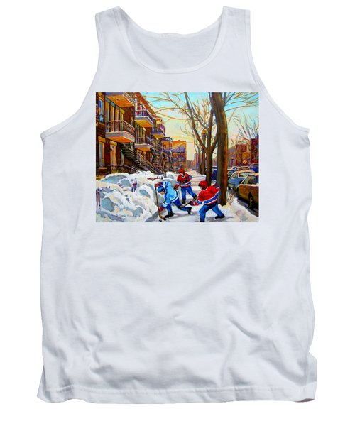 Hockey Art - Paintings Of Verdun- Montreal Street Scenes In Winter Tank Top