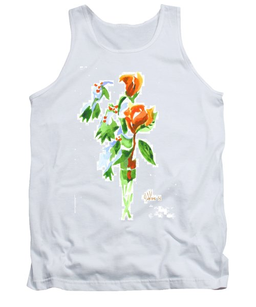 Holly With Red Roses In A Vase Tank Top by Kip DeVore