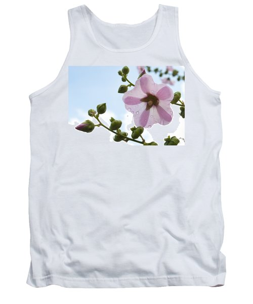 Hollyhock With Raindrops Tank Top by Lana Enderle