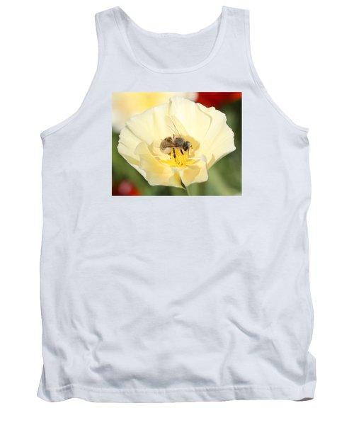 Honeybee On Cream Poppy Tank Top by Lucinda VanVleck