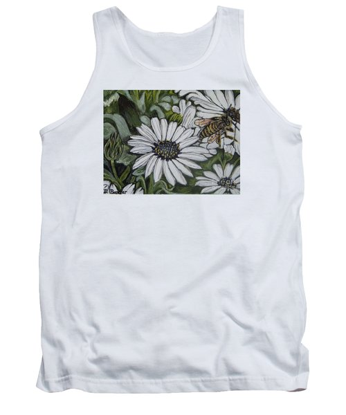 Honeybee Taking The Time To Stop And Enjoy The Daisies Tank Top by Kimberlee Baxter
