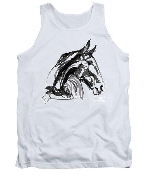 Horse- Apple -digi - Black And White Tank Top