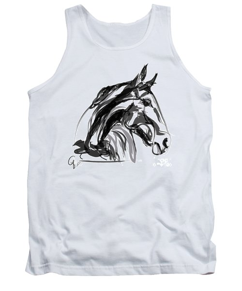 Horse- Apple -digi - Black And White Tank Top