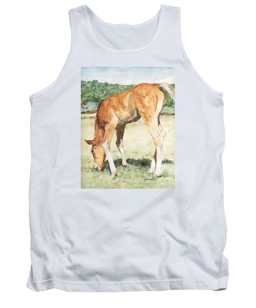Horse Art Long-legged Colt Painting Equine Watercolor Ink Foal Rural Field Artist K. Joann Russell  Tank Top