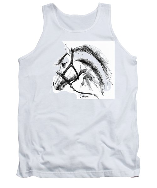 Horse Face Ink Sketch Drawing Tank Top