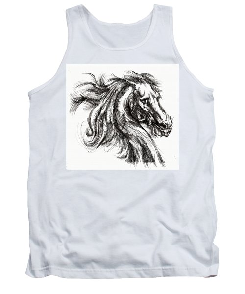 Horse Face Ink Sketch Drawing - Inventing A Horse Tank Top