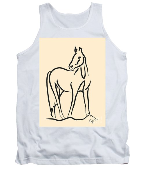 Tank Top featuring the painting Horse - Grace by Go Van Kampen