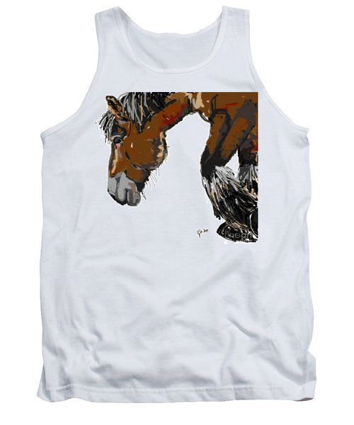 Tank Top featuring the painting horse - Guus by Go Van Kampen