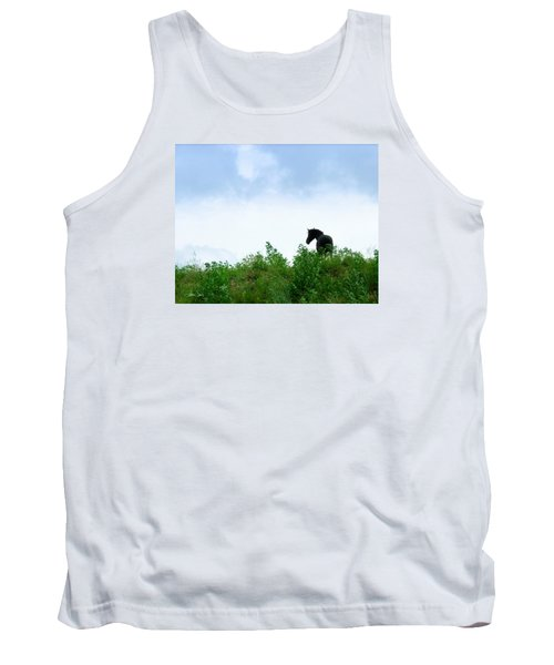 Tank Top featuring the photograph Horse On The Hill by Joan Davis