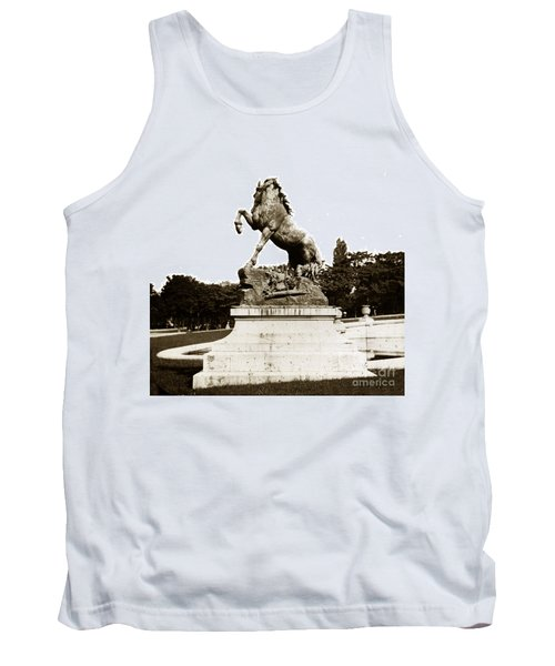 Tank Top featuring the photograph Horse Sculpture Trocadero  Paris France 1900 Historical Photos by California Views Mr Pat Hathaway Archives