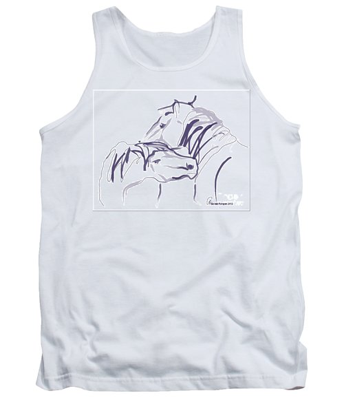 Tank Top featuring the painting Horse - Together 10 by Go Van Kampen