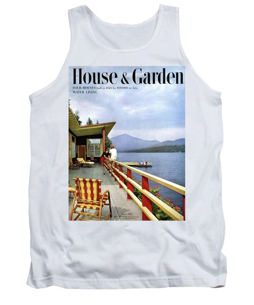 House & Garden Cover Of Women Sitting On The Deck Tank Top