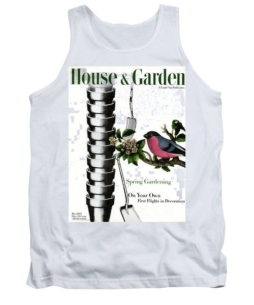 House And Garden Cover Featuring Pots And A Bird Tank Top