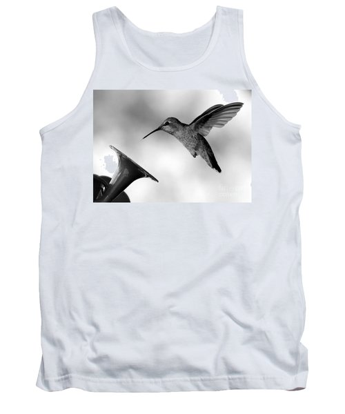 Hummingbird In Black And White Tank Top