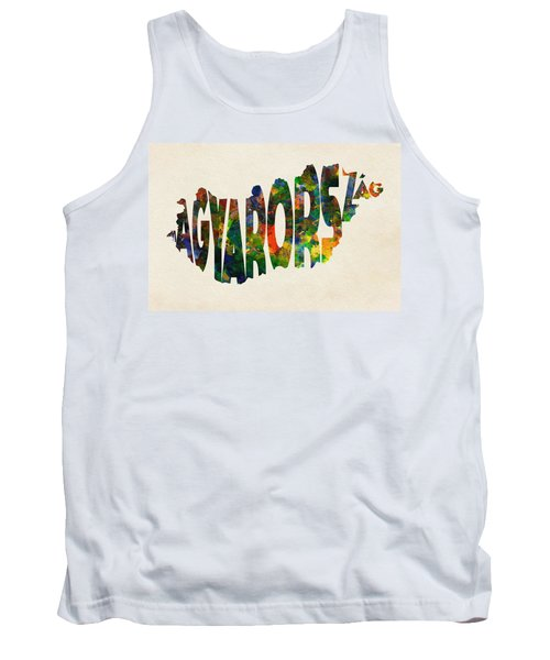 Hungary Typographic Watercolor Map Tank Top